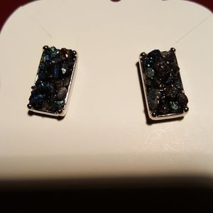 Jewelry - 🌟Drusy stone rectangular post butterfly  earrings